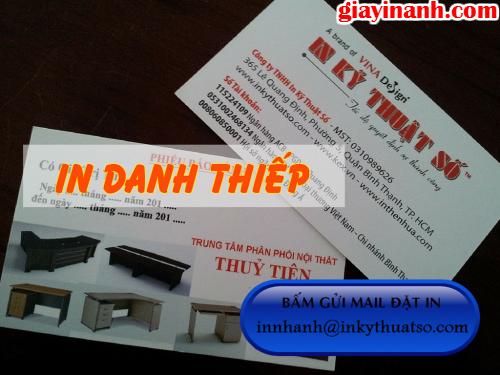 In danh thiếp TPHCM giá rẻ tại Công ty TNHH In Kỹ Thuật Số - Digital Printing