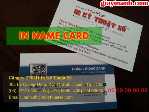 In name card với giấy C200 tại Công ty TNHH In Kỹ Thuật Số - Digital Printing